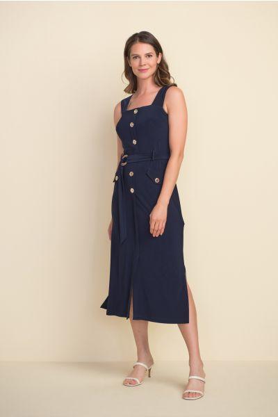 Joseph Ribkoff Metallic Midnight Blue Accent Dress Style 212155
