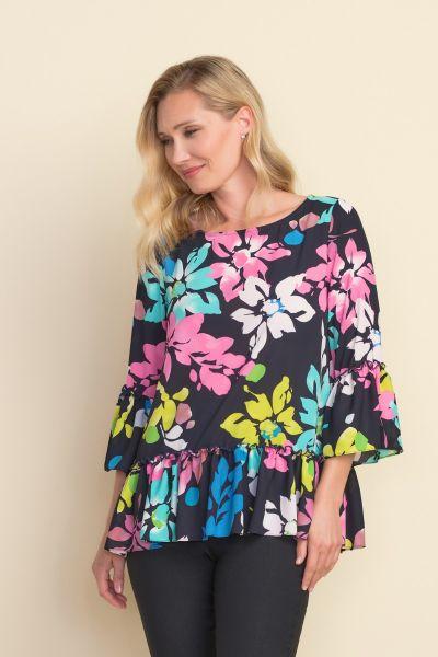 Joseph Ribkoff Floral & Ruffled Midnight/Multi Top Style 212163