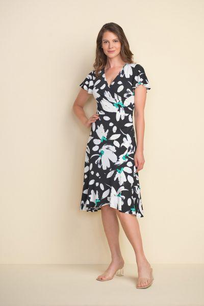 Joseph Ribkoff Black/Multi Layered Hem Dress  Style 212164