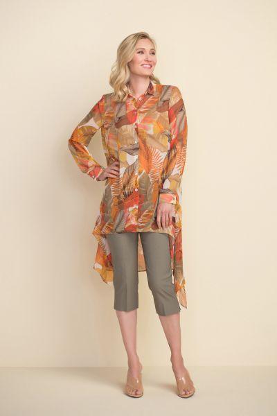 Joseph Ribkoff Brown/Multi High-Low Hem Blouse Style 212174