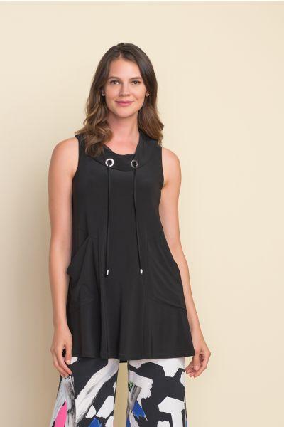 Joseph Ribkoff Black Drawstring Sleeveless Top Style 212175