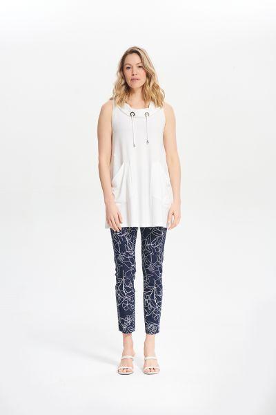 Joseph Ribkoff Vanilla Drawstring Sleeveless Top Style 212175