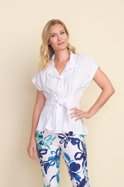 Joseph Ribkoff Optic-White Short Sleeve Blouse Style 212178