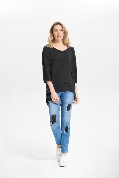 Joseph Ribkoff Black 3/4 Blouse Style 212185
