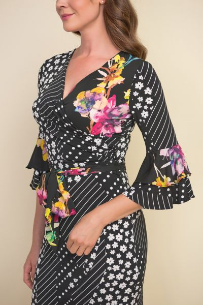 Joseph Ribkoff Black/White Floral Print Bell Sleeve Dress Style 212190