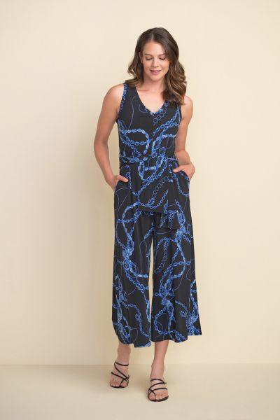 Joseph Ribkoff Black/Multi Chain Print Jumpsuit Style 212212