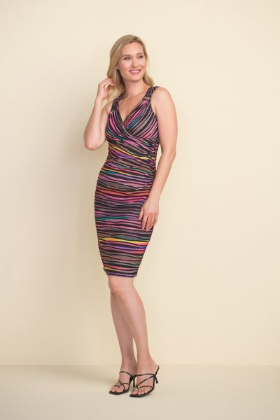 Joseph Ribkoff Black/Multi Multi-Colour Striped Dress Style 212242