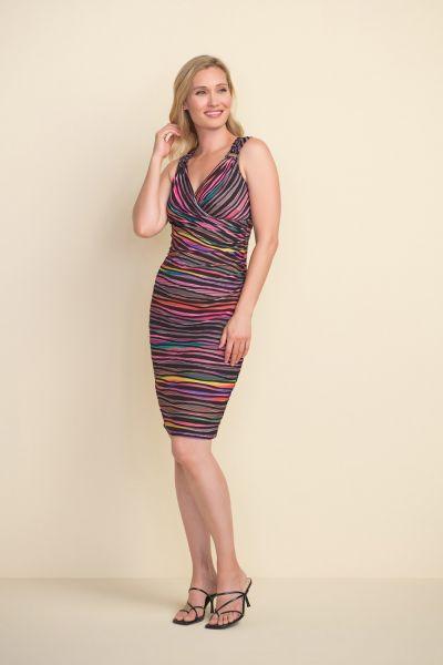 Joseph Ribkoff Black/Multi Multi-Colour Striped Dress Style 212242
