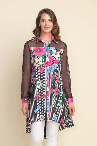 Joseph Ribkoff Sheer Dress Black/Multi Style 212275