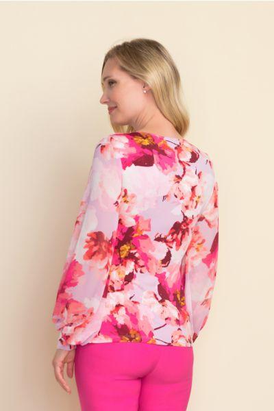 Joseph Ribkoff Wrap Front Blouse Lilac/Multi Style 212288