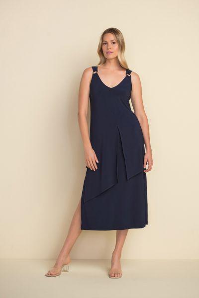 Joseph Ribkoff Midnight Blue Ring Accent Maxi Dress Style 212301