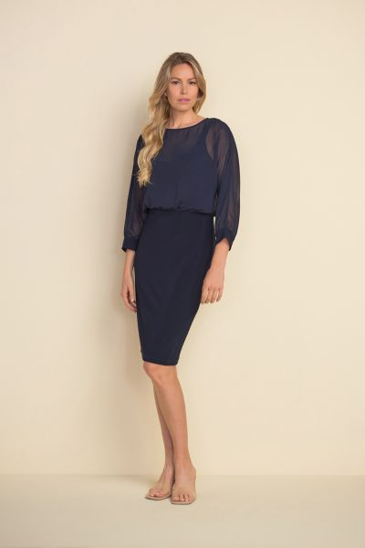 Joseph Ribkoff Midnight Blue Sheer Bodice Dress Style 212309