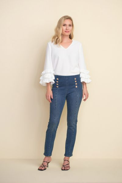 Joseph Ribkoff Dark Denim Button Accent Jeans Style 212902