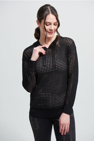 Joseph Ribkoff Black Perforated Sweatshirt Style 212906