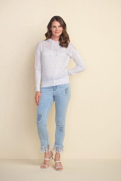 Joseph Ribkoff Silver Perforated Sweatshirt Style 212906