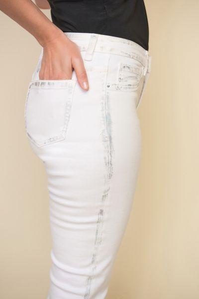 Joseph Ribkoff White Jean Distressed Detail Pant Style 212908