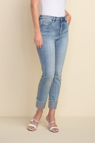 Joseph Ribkoff Light Blue Sparkle Cuff Jeans Style 212915