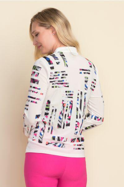 Joseph Ribkoff Faux Suede Vanilla/Multi Jacket Style 212917