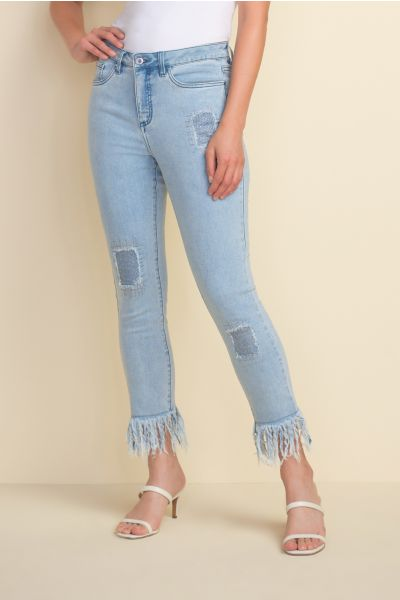 Joseph Ribkoff Frayed Light Blue Denim Jeans Style 212927