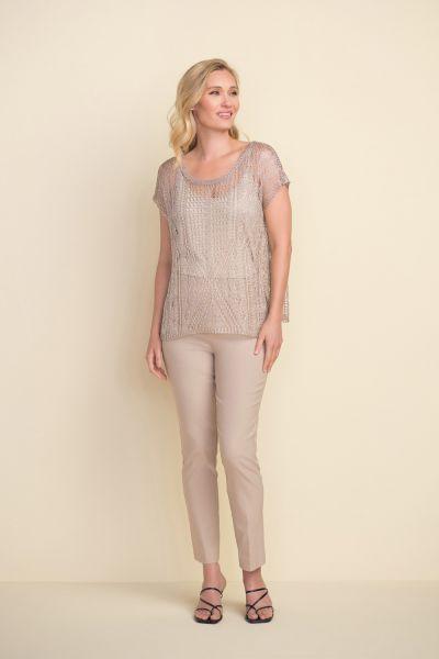 Joseph Ribkoff Sand Short-Sleeve Knit Top Style 212929