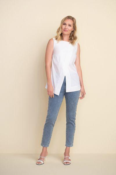 Joseph Ribkoff Denim Blue Pearl Trim Jeans Style 212933