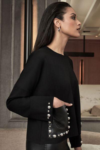 Joseph Ribkoff Black Leatherette Top Style 213000