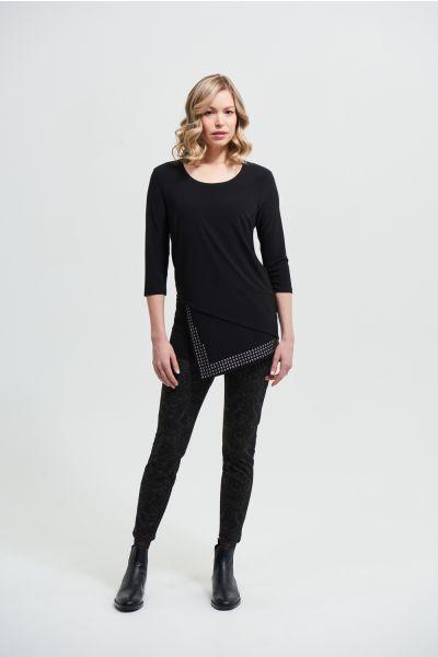 Joseph Ribkoff Black Asymmetrical Hem Top Style 213003