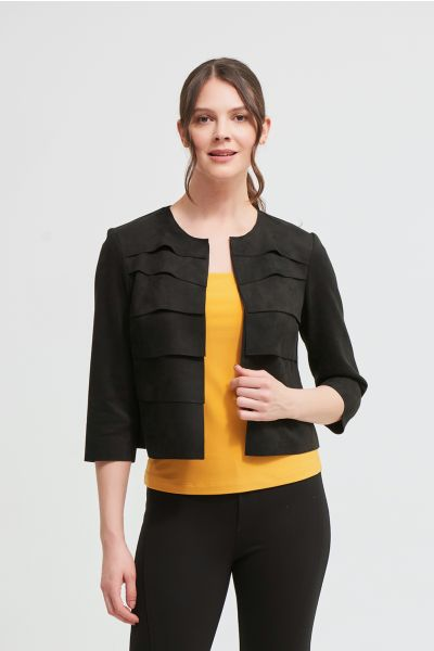 Joseph Ribkoff Black Faux Suede Blazer Style 213037