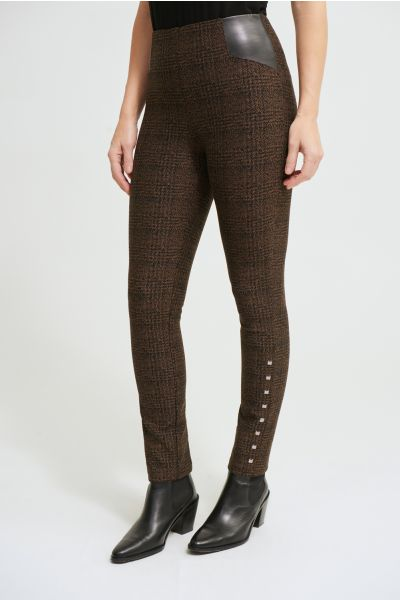Joseph Ribkoff Black/Brown Plaid Pants Style 213050