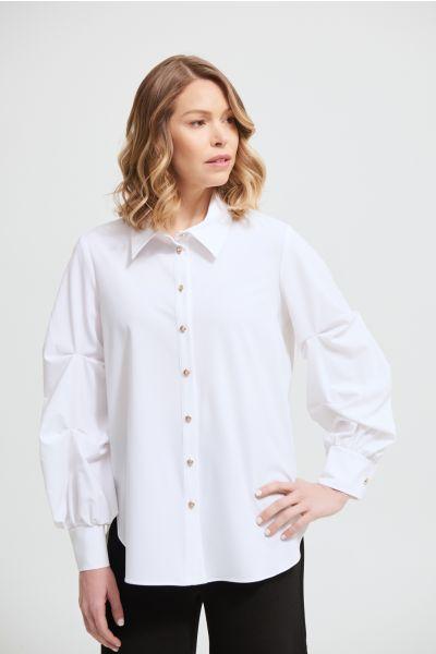 Joseph Ribkoff Optic White Puffed Sleeve Blouse Style 213072