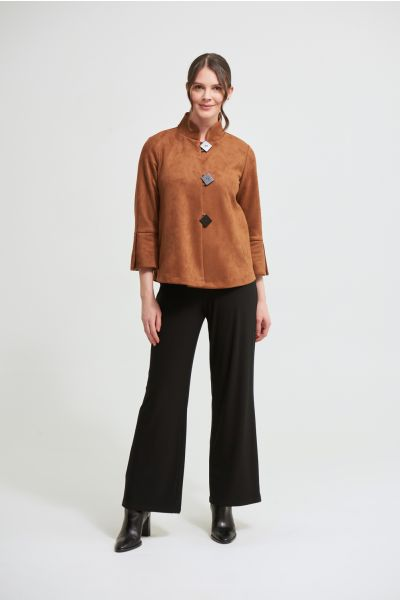 Joseph Ribkoff Brown Faux Suede Jacket Style 213093