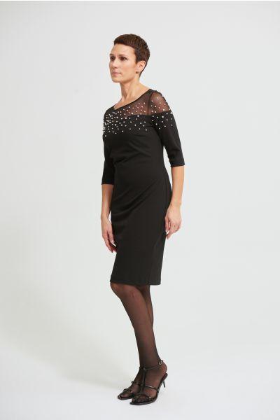 Joseph Ribkoff Black Mesh Insert Dress Style 213105