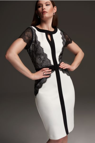 Joseph Ribkoff Black/Vanilla Lace Detail Dress Style 213118