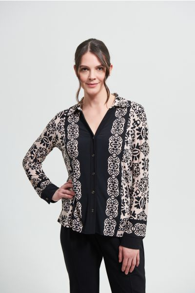 Joseph Ribkoff Black/Sand Blouse Style 213275