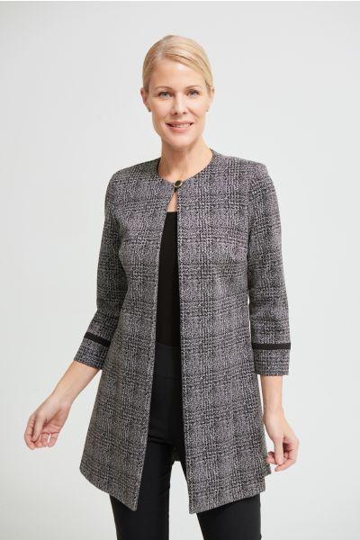 Joseph Ribkoff Black/Grey Check Print Jacquard Jacket Style 213287
