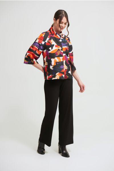Joseph Ribkoff Black/Multi Abstract Jacquard Jacket Style 213301