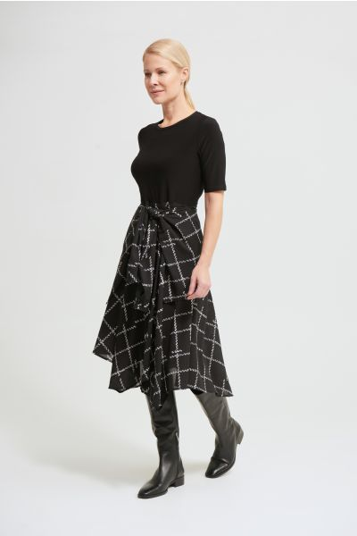 Joseph Ribkoff Black/Vanilla Asymmetric Hem Dress Style 213308