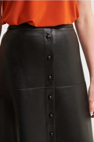 Joseph Ribkoff Black Faux Leather A-Line Skirt Style 213337