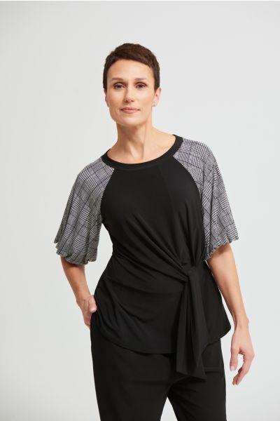 Joseph Ribkoff Black/White Check Print Sleeve Top  Style 213343