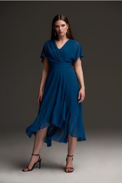 Joseph Ribkoff Peacock Wrap Chiffon Dress Style 213351