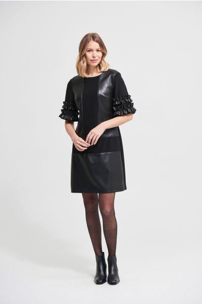 Joseph Ribkoff Black Faux Leather Accent Dress Style 213359