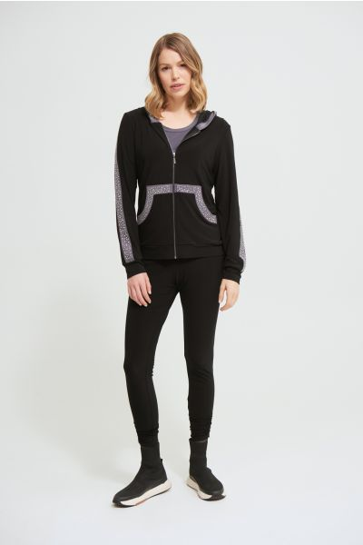 Joseph Ribkoff Black/Granite Hooded Jacket Style 213893