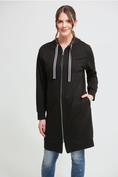 Joseph Ribkoff Black Long Hooded Jacket Style 213404