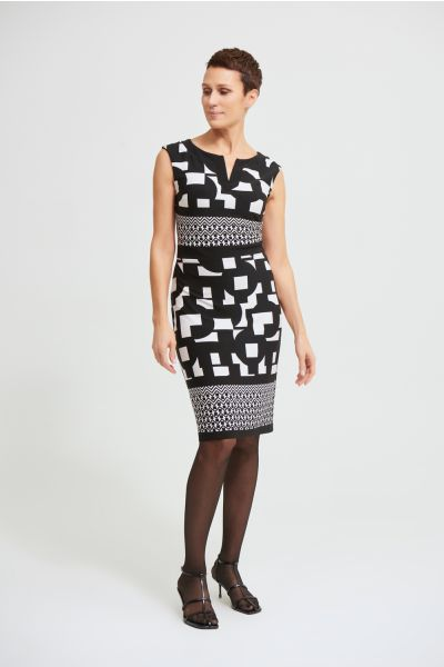 Joseph Ribkoff Black/Vanilla Geo Sheath Dress Style 213423