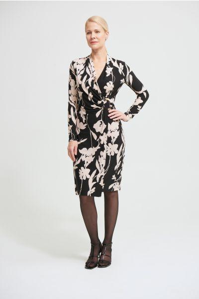 Joseph Ribkoff Black/Beige Floral Wrap Front Dress Style 213424