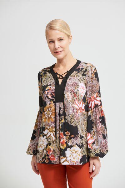 Joseph Ribkoff Black/Multi Paisley Georgette Blouse Style 213425