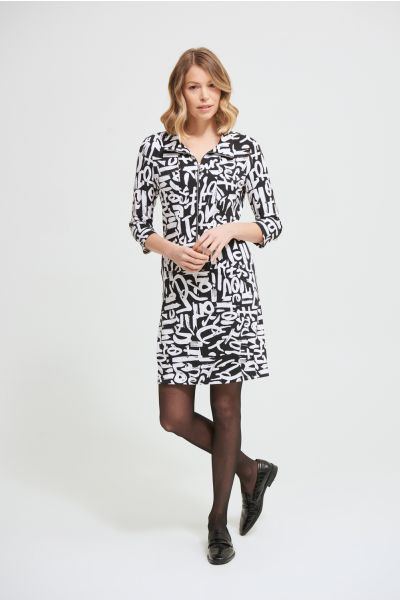 Joseph Ribkoff Black/Vanilla Graffiti Print Dress Style 213426
