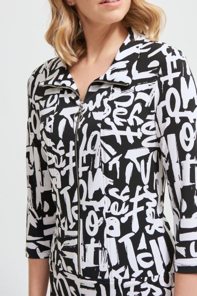 Joseph Ribkoff Black/Vanilla Graffiti Print Dress Style 213426