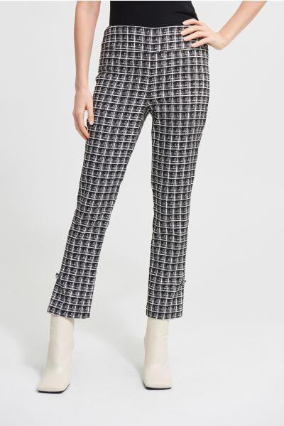 Joseph Ribkoff Black/White Plaid Jacquard Pants Style 213439