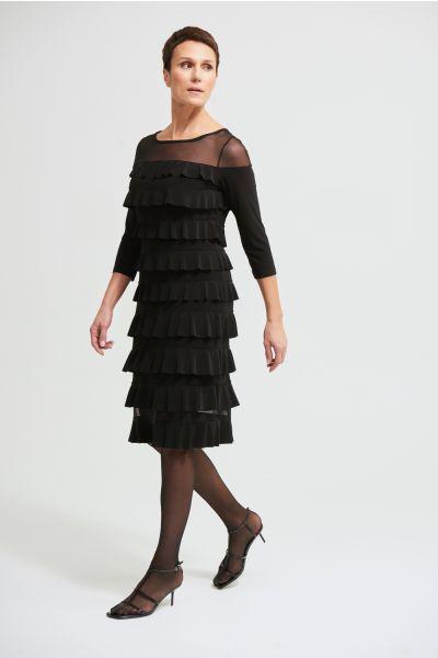 Joseph Ribkoff Black Tiered Ruffle Dress Style 213457